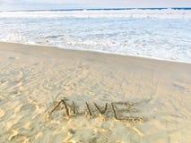 'Żywy' remis Na Piaskowatej plaży Z ocean fala, Inspiracyjny piaska słowo Obraz Stock