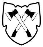 Yxa i sköldsymbol Fotografering för Bildbyråer