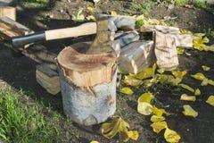 Yxa som hugger av trä på att hugga av kvarteret Fotografering för Bildbyråer