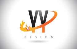 YY Y Letter Logo with Fire Flames Design and Orange Swoosh. Stock Images