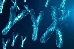 YYX-cromossomas com o ADN que leva o código genético Conceito da genética, conceito da medicina Futuro, mutações genéticas ilustração royalty free
