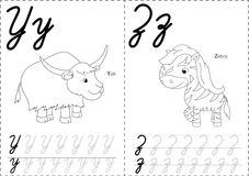 2YZ. Cartoon yak and zebra. Alphabet tracing worksheet: writing A-Z, coloring book and educational game for kids Royalty Free Stock Image