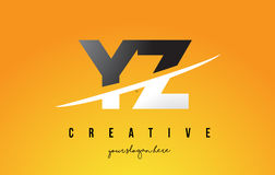 YZ Y Z Letter Modern Logo Design with Yellow Background and Swoo Royalty Free Stock Photos