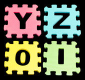 YZOI Alphabet learning blocks isolated Black Stock Photography