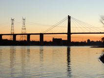 Zárate-Brazo Largo Bridge at sunset Royalty Free Stock Image