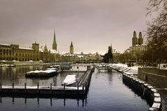 Zürich city in Winter Royalty Free Stock Photography