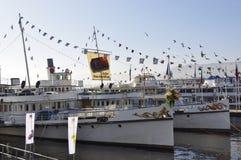 ZÃ ¼ miasto: Expovina na steamboats fotografia royalty free