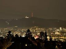 ZÃ-¼ Reiche bis zum Nacht mit Uetliberg im Hintergrund Lizenzfreie Stockfotos