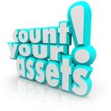 Zählen Sie Ihre Wörter der Anlagegut-3d, die Reichtums-Wert-Geld aufspüren Stockfotos