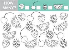 Zählen Sie, wieviele Beeren Mathematisches Spiel für Kinder Lizenzfreie Stockbilder