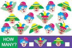 Zählen Sie, wieviele Clowne Pädagogisches Spiel stock abbildung