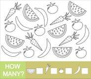 Zählen Sie, wieviele Früchte, Beeren und Gemüse Banane, Wassermelone, Tomate, Karotte lizenzfreie abbildung