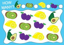 Zählen Sie, wieviele Früchte Lernspiel für Vorschulkinder vektor abbildung