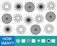 Zählen Sie, wieviele Gekritzelblumen farblos Spiel für Kinder lizenzfreie abbildung