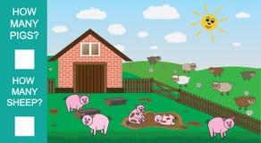 Zählen Sie, wieviele Schweine und Schafe, pädagogisches mathematisches Spiel Zählung des Spiels für Vorschulkinder Auch im corel  stock abbildung