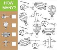 Zählen Sie, wievieles Gegenstand des Lufttransports Zählung des Lernspiels vektor abbildung
