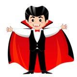 Zählimpuls Dracula Vampir Junge im Halloween-Kostüm Stockbilder