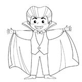 Zählimpuls Dracula Vampir Junge im Halloween-Kostüm Schwarzweiss-Vektor Lizenzfreies Stockfoto