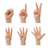 Zählung der Hände (0 bis 5) Stockfotos