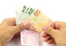 Zählung des Geldes Türkische Banknoten Türkische Lira (Zeitlimit) Stockbild