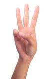 Zählung des Handfingers Nr. 3 der Frau Lizenzfreie Stockfotografie