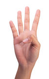 Zählung des Handfingers Nr. 4 der Frau Stockfoto