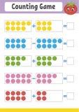 Zählung des Spiels für Vorschüler Pädagogisches mathematisches Spiel auf Zusatz und Abzug Aktives Arbeitsblatt für Kinder Helles  lizenzfreie abbildung