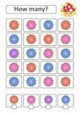Zählung des Spiels für Vorschulkinder für die Entwicklung von mathematischen Fähigkeiten Wieviele Blumen Mit einem Platz für Antw Stock Abbildung