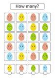 Zählung des Spiels für Vorschulkinder für die Entwicklung von mathematischen Fähigkeiten Wieviele Eier von verschiedenen Farben M Vektor Abbildung