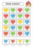 Zählung des Spiels für Vorschulkinder für die Entwicklung von mathematischen Fähigkeiten Wieviele Herzen von verschiedenen Farben Stock Abbildung