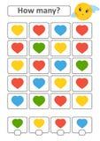 Zählung des Spiels für Vorschulkinder für die Entwicklung von mathematischen Fähigkeiten Wieviele Herzen von verschiedenen Farben Lizenzfreie Abbildung