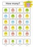 Zählung des Spiels für Vorschulkinder für die Entwicklung von mathematischen Fähigkeiten Wieviele Ostereier Mit einem Platz für A Lizenzfreie Abbildung
