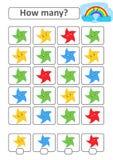 Zählung des Spiels für Vorschulkinder für die Entwicklung von mathematischen Fähigkeiten Wieviele Sterne von verschiedenen Farben Stock Abbildung