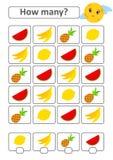 Zählung des Spiels für Vorschulkinder für die Entwicklung von mathematischen Fähigkeiten Wieviele tropischen Früchte Mit einem Pl Vektor Abbildung
