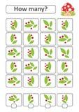 Zählung des Spiels für Vorschulkinder Die Studie der Mathematik Mit einem Platz für Antworten Einfache Ebene lokalisierte Vektori Lizenzfreie Abbildung