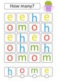 Zählung des Spiels für Vorschulkinder Die Studie der Mathematik Wieviele Buchstaben im Bild Mit einem Platz für Antworten einfach Vektor Abbildung