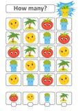 Zählung des Spiels für Vorschulkinder Die Studie der Mathematik Wieviele Charaktere im Bild Mond, Palme, Tomate, Blumentopf Stock Abbildung