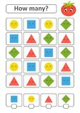 Zählung des Spiels für Vorschulkinder Die Studie der Mathematik Wieviele Formen im Bild Ein Kreis, ein Quadrat, eine Raute, ein t Stock Abbildung