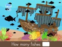 Zählung des Spiels Wieviele Fische stock abbildung