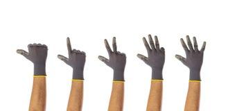 Zählung die männlichen behandschuhten Hände lokalisiert auf weißem Hintergrund stockbilder