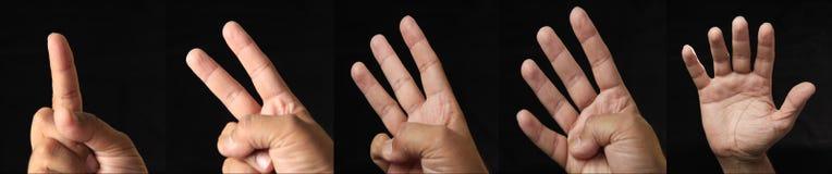 Zählung von Händen auf schwarzem Hintergrund Stockfotos