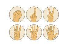 Zählung von Handfingern 0 bis 5 lokalisiert auf weißem Hintergrund Lizenzfreie Stockbilder
