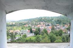 Zählungs-Dracula-Schloss-Ansicht lizenzfreie stockbilder