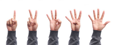 Zählungshandzeichen mit einen bis fünf Fingern lokalisiert Lizenzfreies Stockfoto