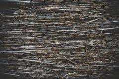 Zäunen Sie Flechtweide von vielen kleinen Stangen, Hintergrund mit dem Tonen des Effektes ein Stockfotos