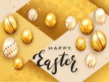 Złoci Złoci Wielkanocni jajka na Złocistych BackgroundEaster jajkach na Złocistym tle ilustracji