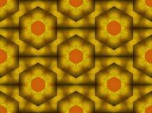 Złocisty i pomarańczowy ananas deseniująca tekstylna projekt ilustracja royalty ilustracja