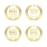 Złocisty Laurowy wektorowy wianek Najlepszy cena, Najlepszy wybór, premii ilości nagrody odznaki złote Projekta element dla bizne royalty ilustracja
