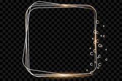 Złota rama z światło skutkami, Olśniewająca luksusowa sztandaru wektoru ilustracja ilustracji