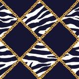 Złotego łańcuchu splendoru szkockiej kraty zebry bezszwowa deseniowa ilustracja Akwareli tekstura z złotymi łańcuchami ilustracji